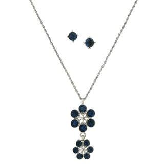 1928 Jewelry Silvertone Dark Blue Glass Stone Flower Drop Pendant and Round Stud Earrings Set