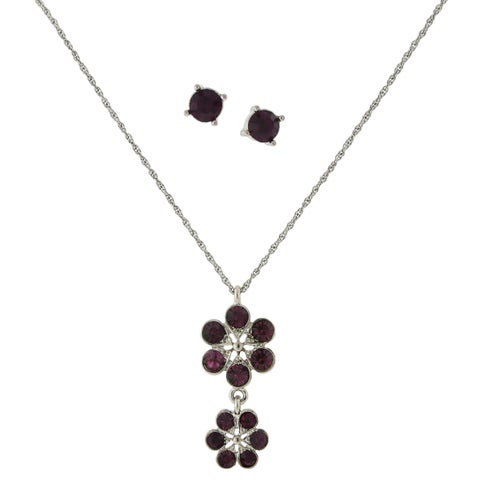 1928 Jewelry Silvertone Dark Purple Glass Stone Flower Drop Pendant and Round Stud Earrings Set