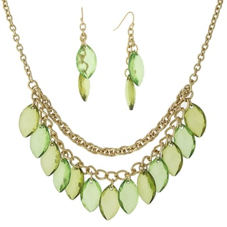 1928 Jewelry Dazzling Goldtone Multi-layer Chains with Green Navette Drops Bib Necklace and Earrings Set