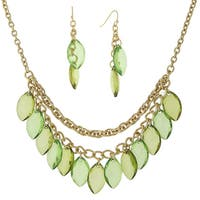 1928 Jewelry Dazzling Goldtone Multi layer Chains with Green Navette Drops Bib Necklace and Earrings Set