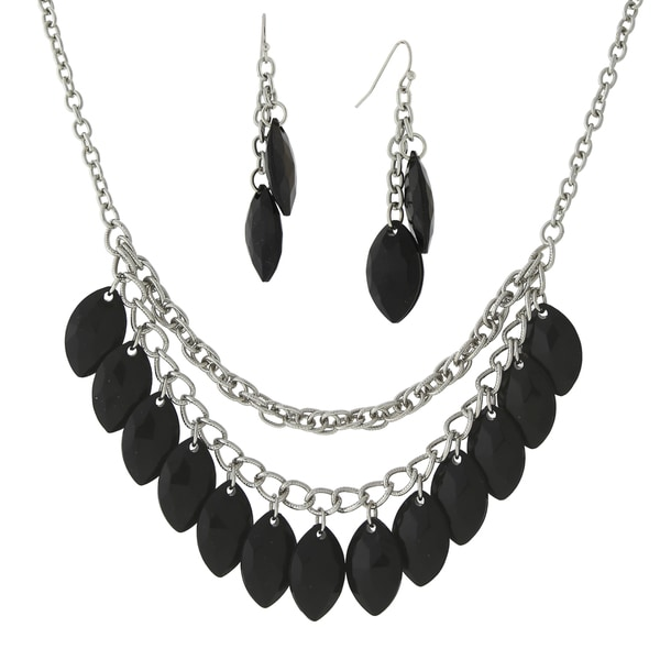 1928 Jewelry Dramatic Silvertone Multi layer Chains with Black Navette Drops Bib Necklace and Earrings Set