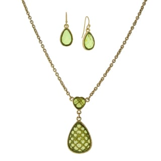 1928 Jewelry Stylish Goldtone Olivine-green Color Heart with Pearshape Drop and Earrings Set