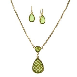 1928 Jewelry Stylish Goldtone Olivine green Color Heart with Pearshape Drop and Earrings Set