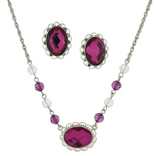 1928 Jewelry Silvertone Fuchsia Faceted Stone Oval Necklace and Earrings Set
