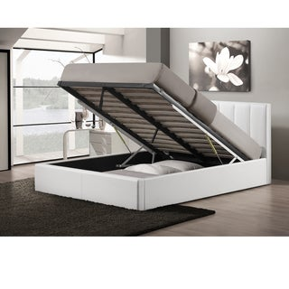 Baxton Studio Templemore Contemporary White Faux Leather Queen Storage Bed