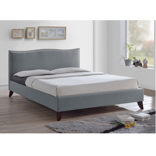 Shop Battersby Grey Upholstered Headboard Modern Bed - Ships To ...