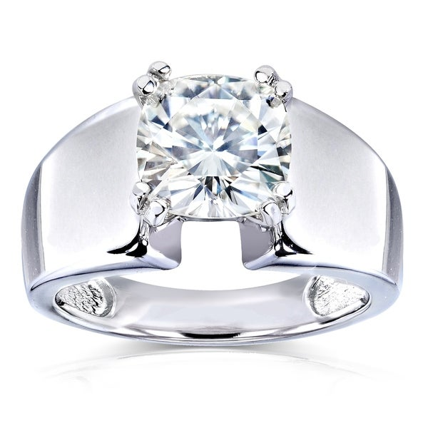 e5697f889 Annello by Kobelli 14k White Gold 2 Carat Solitaire Moissanite Cushion-cut  Wide Flared Engagement