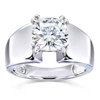 Annello by Kobelli 14k White Gold 2 Carat Solitaire Moissanite Cushion-cut Wide Flared Engagement Ring (FG/VS)