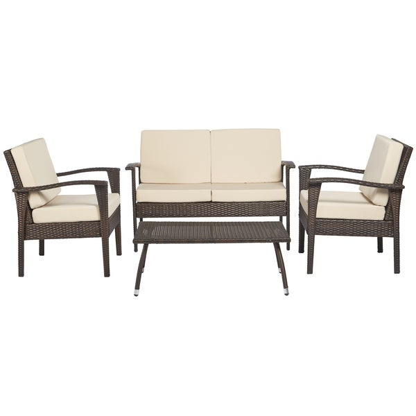 Handy living napa estate luxe sandy brown 4 piece wicker indoor outdoor set free shipping Angelo home patio furniture