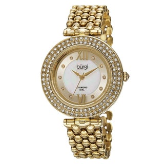 Burgi Women's Swiss Quartz Diamond Markers Alloy Bracelet Watch (Option: Gold-tone)