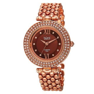 Burgi Women's Swiss Quartz Diamond Markers Alloy Bracelet Watch (3 options available)