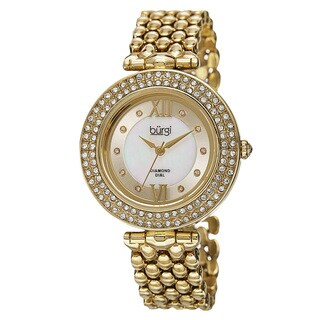 Burgi Women's Swiss Quartz Diamond Markers Alloy Bracelet Watch with FREE Bangle