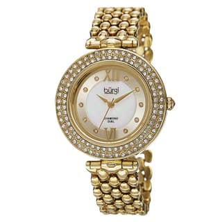 Burgi Women's Swiss Quartz Diamond Markers Alloy Bracelet Watch