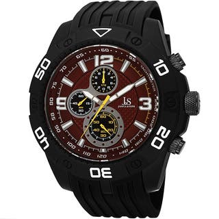 Joshua & Sons Men's Quartz Chronograph Tachymeter Red Strap Watch with FREE GIFT|https://ak1.ostkcdn.com/images/products/10061905/P17206936.jpg?impolicy=medium