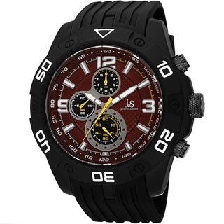 Joshua & Sons Men's Quartz Chronograph Tachymeter Red Strap Watch