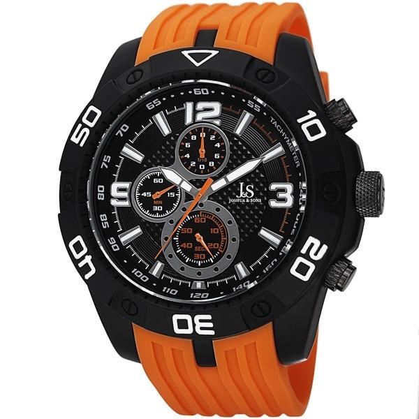 Joshua & Sons Men's Quartz Chronograph Tachymeter Orange Strap Watch