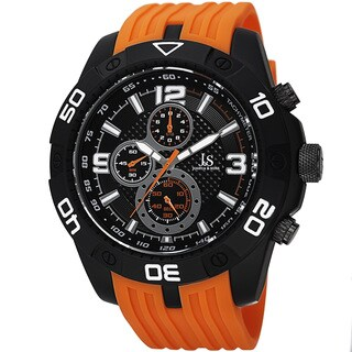 Joshua & Sons Men's Quartz Chronograph Tachymeter Orange Strap Watch