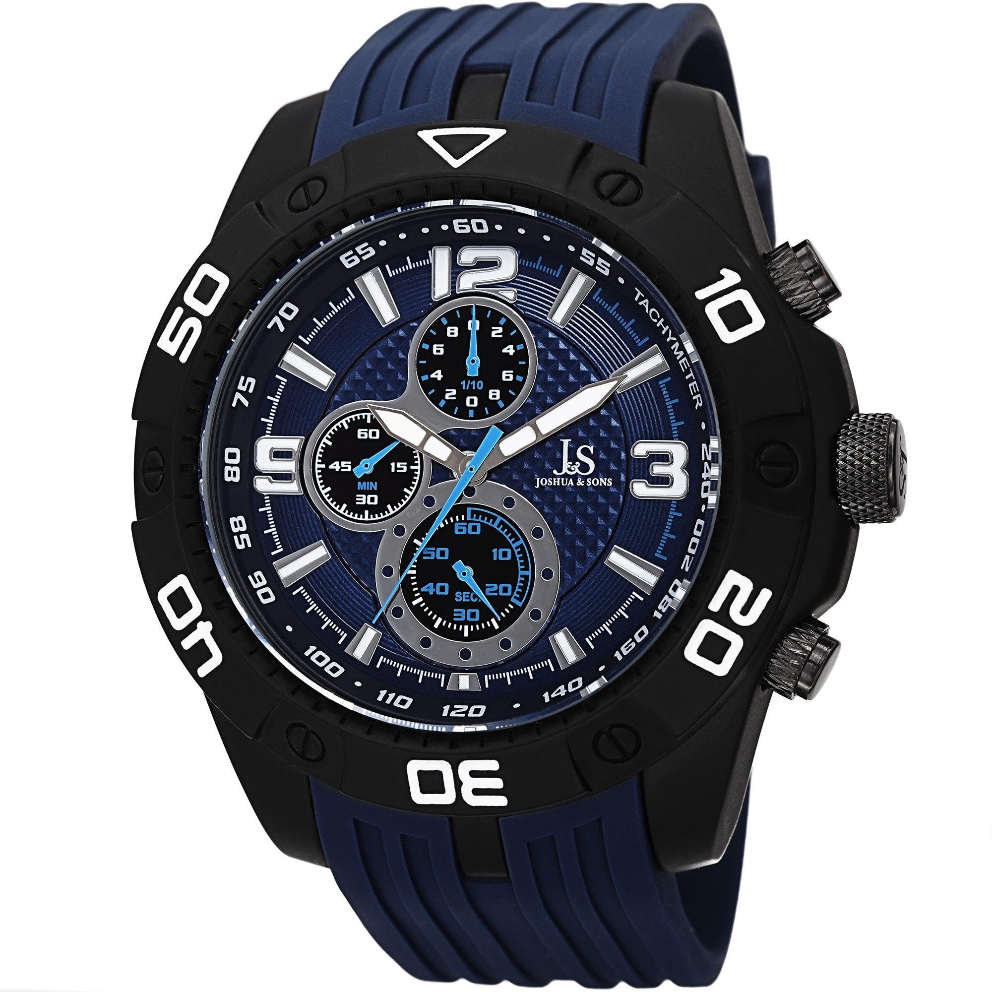 J&S Quartz Chronograph Tachymeter Blue Strap Watch (Blue)...