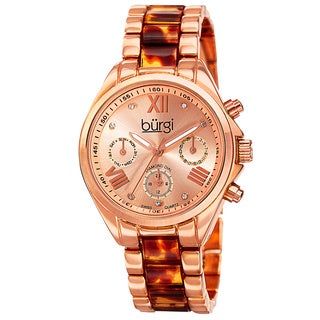 Burgi Women's Swiss Quartz Diamond Multifunction Dual-Time Gold-Tone Bracelet Watch