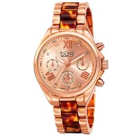 Burgi Women's Swiss Quartz Diamond Multifunction Dual-Time Bracelet Watch with FREE Bangle