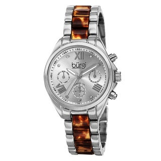 Burgi Women's Swiss Quartz Diamond Multifunction Dual-Time Silver-Tone Bracelet Watch