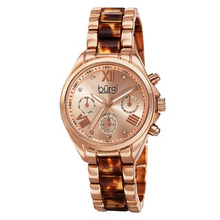 Burgi Women's Swiss Quartz Diamond Multifunction Dual-Time Rose-Tone Bracelet Watch