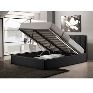 Baxton Studio Templemore Contemporary Black Faux Leather Queen Storage Bed