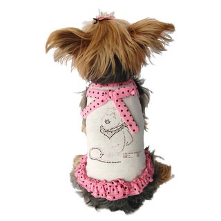 Cute Rhinestone Embelished Cotton Jersey Dog Sundress with Polka Dot Trimming