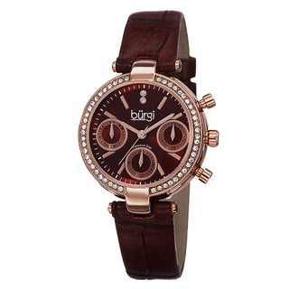 Burgi Women's Diamond Swiss Quartz Multifunction Dual-Time Leather Strap Watch (Option: RED)