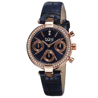 Burgi Women's Diamond Swiss Quartz Multifunction Dual-Time Leather Blue Strap Watch