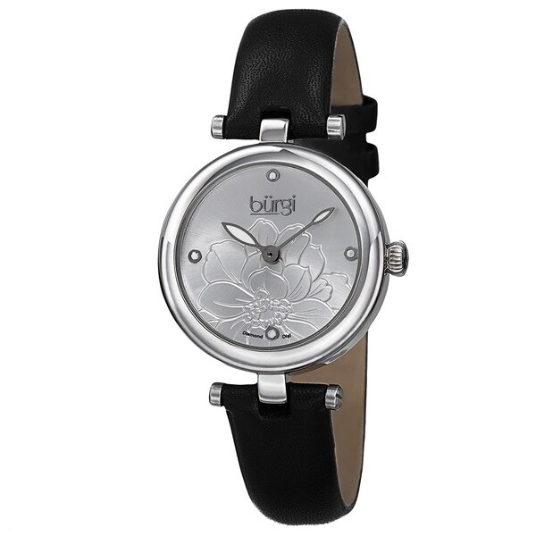 Burgi Women's Quartz Diamond Markers Etched Flower Dial Leather Silver-Tone Strap Watch