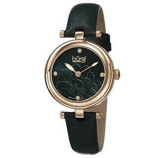 Burgi Women's Quartz Diamond Flower Dial Leather Green Strap Watch