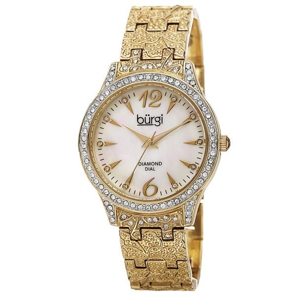 Burgi Women's Diamond Markers Mother of Pearl Quartz Gold-Tone Bracelet Watch