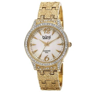 Burgi Women's Diamond Markers Mother of Pearl Quartz Gold-Tone Bracelet Watch with FREE GIFT|https://ak1.ostkcdn.com/images/products/10061924/P17206955.jpg?impolicy=medium