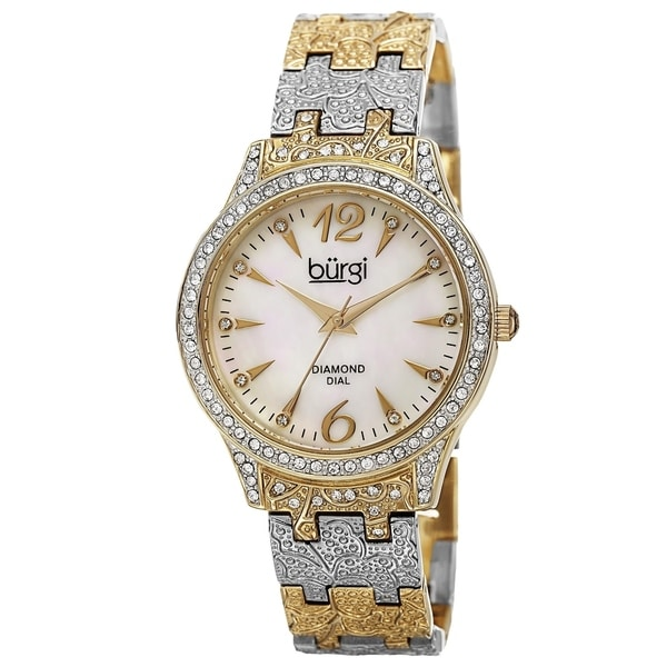Burgi Women's Diamond Markers Mother of Pearl Quartz Two-Tone Bracelet Watch with FREE Bangle
