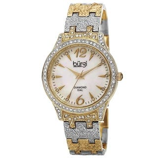Burgi Women's Diamond Markers Mother of Pearl Quartz Two-Tone Bracelet Watch with FREE GIFT|https://ak1.ostkcdn.com/images/products/10061925/P17206957.jpg?impolicy=medium