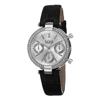 Burgi Women's Diamond Swiss Quartz Multifunction Dual-Time Leather Silver-Tone Strap Watch