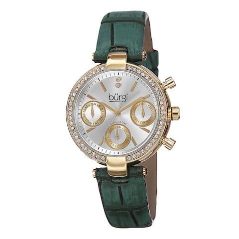 Burgi Women's Diamond Swiss Quartz Multifunction Dual-Time Leather Green Strap Watch