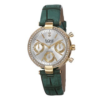 Burgi Women's Diamond Swiss Quartz Multifunction Dual-Time Leather Green Strap Watch