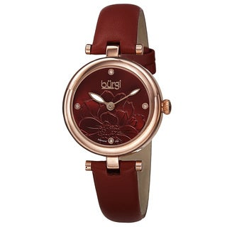 Burgi Women's Quartz Diamond Markers Etched Flower Dial Leather Red Strap Watch