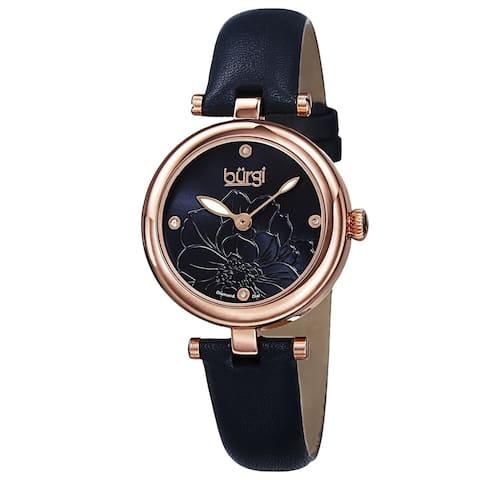 Burgi Women's Quartz Diamond Markers Etched Flower Dial Leather Blue Strap Watch