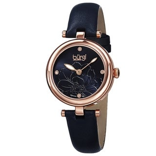 Burgi Women's Quartz Diamond Markers Etched Flower Dial Leather Blue Strap Watch