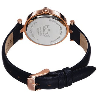 Burgi Women's Quartz Diamond Markers Etched Flower Dial Leather Blue Strap Watch with FREE Bangle