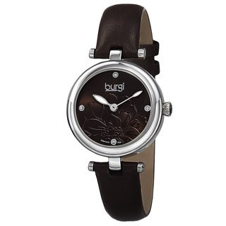Burgi Women's Quartz Diamond Markers Etched Flower Dial Leather Brown Strap Watch