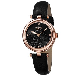 Burgi Women's Quartz Diamond Markers Etched Flower Dial Leather Black Strap Watch with FREE GIFT
