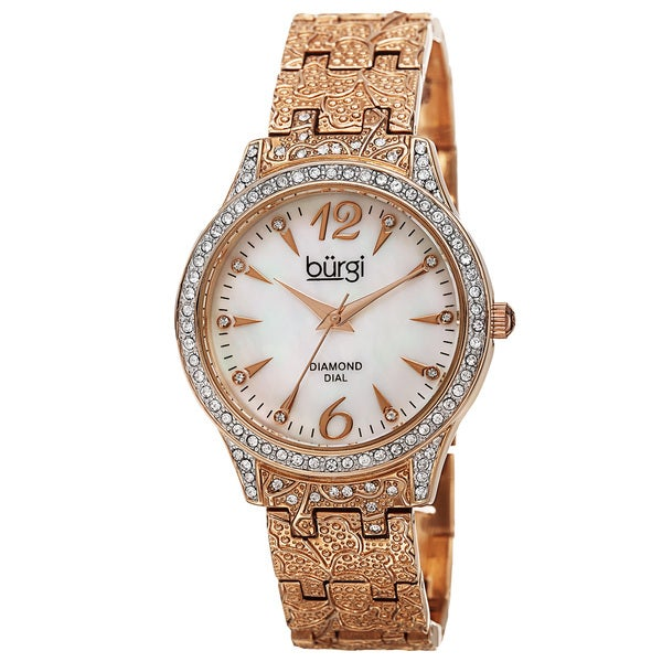 Burgi Women's Diamond Markers Mother of Pearl Quartz Rose-Tone Bracelet Watch with FREE GIFT