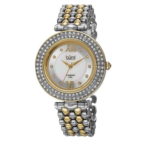 Burgi Women's Swiss Quartz Diamond Markers Alloy Two-Tone Bracelet Watch