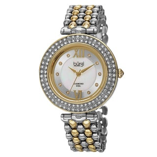 Burgi Women's Swiss Quartz Diamond Markers Alloy Two-Tone Bracelet Watch