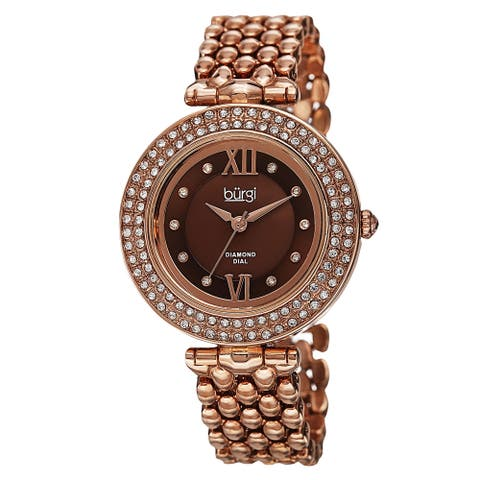 Burgi Women's Swiss Quartz Diamond Markers Alloy Rose-Tone Bracelet Watch