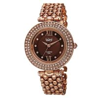Burgi Women's Swiss Quartz Diamond Markers Alloy Rose-Tone Bracelet Watch